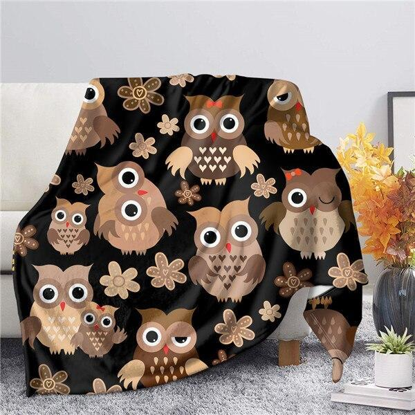 Cure Owls Sherpa Throw Blanket