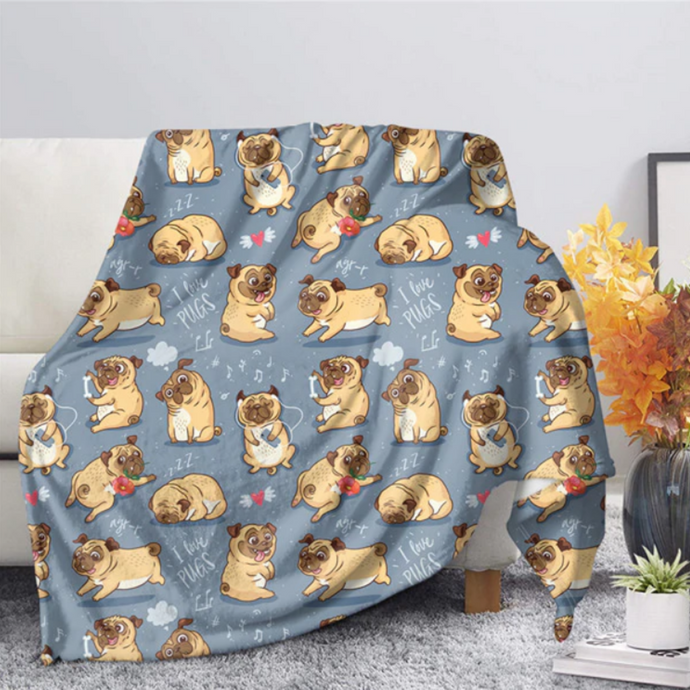 Pug Puppies Quilt Throw Blankets