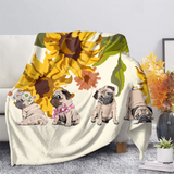 Sunflowers & Pugs Throw Blanket