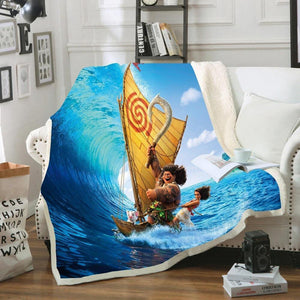 Moana and Maui Sailing Sherpa Blanket