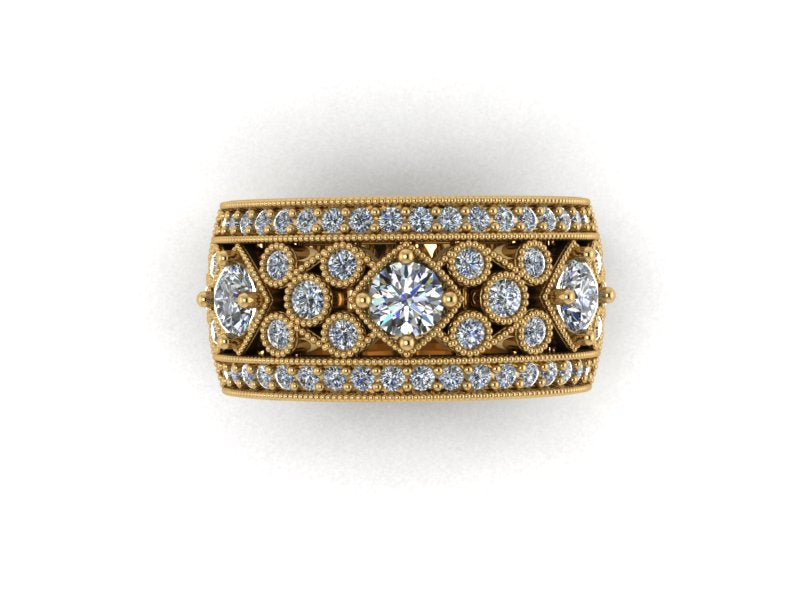 Grace - Wide Diamond Vintage Inspired Band