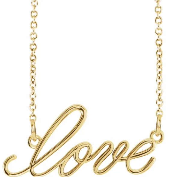 """love"" cursive script necklace"