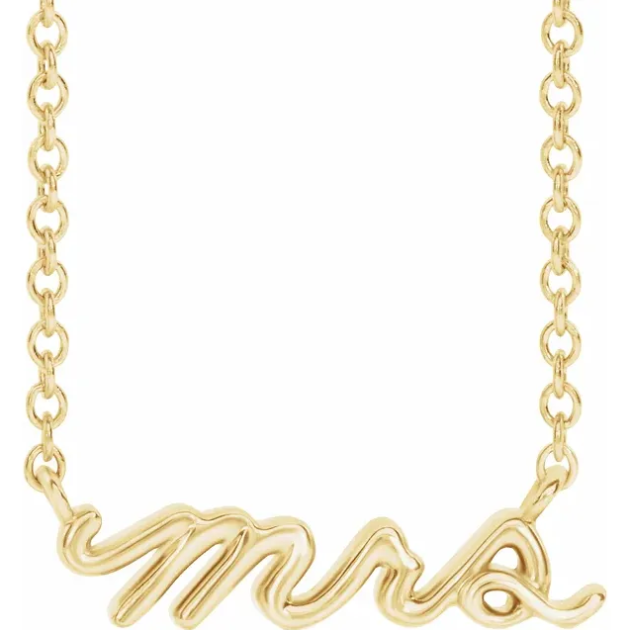 """mrs"" cursive script necklace"