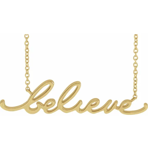 """believe"" cursive script necklace"