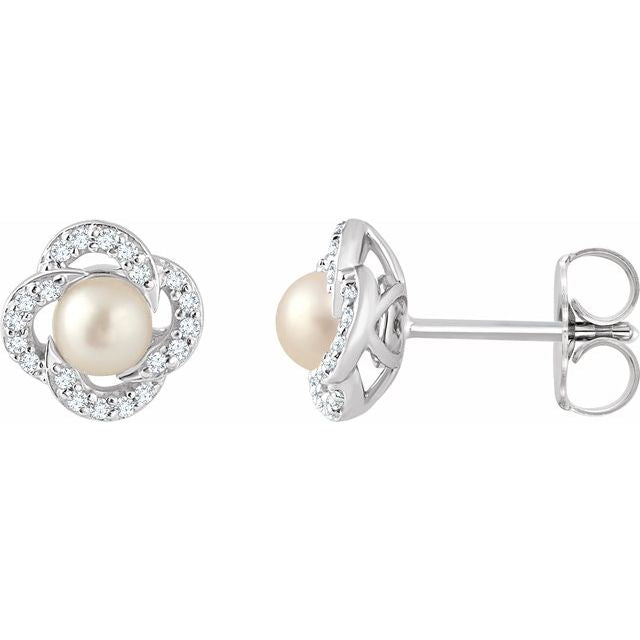 Pearl Flower Diamond Halo Earrings