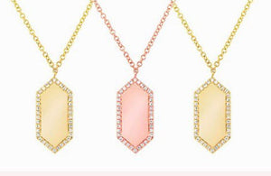Rose Gold North South Hexagon Diamond ID Necklace