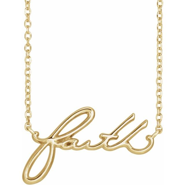 """faith"" cursive script necklace"