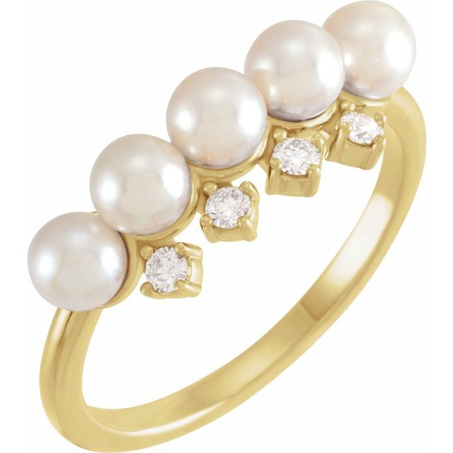 Pearl Akoya Pearl and Diamond Stackable Ring