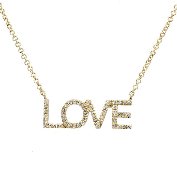 """love"" diamond block necklace"