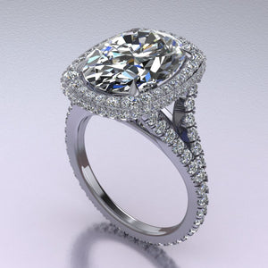 Elongated Cushion Double Edge Halo Featuring Diamond Basket and Cathedral Style Split Shank side