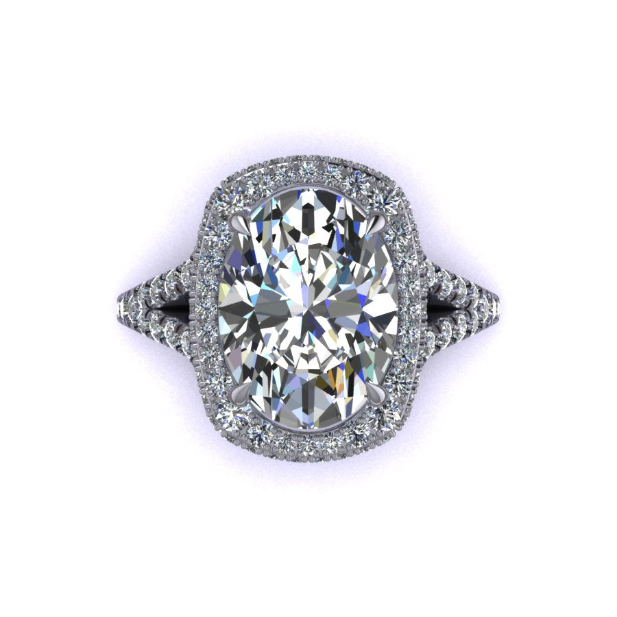 Elongated Cushion Double Edge Halo Featuring Diamond Basket and Cathedral Style Split Shank