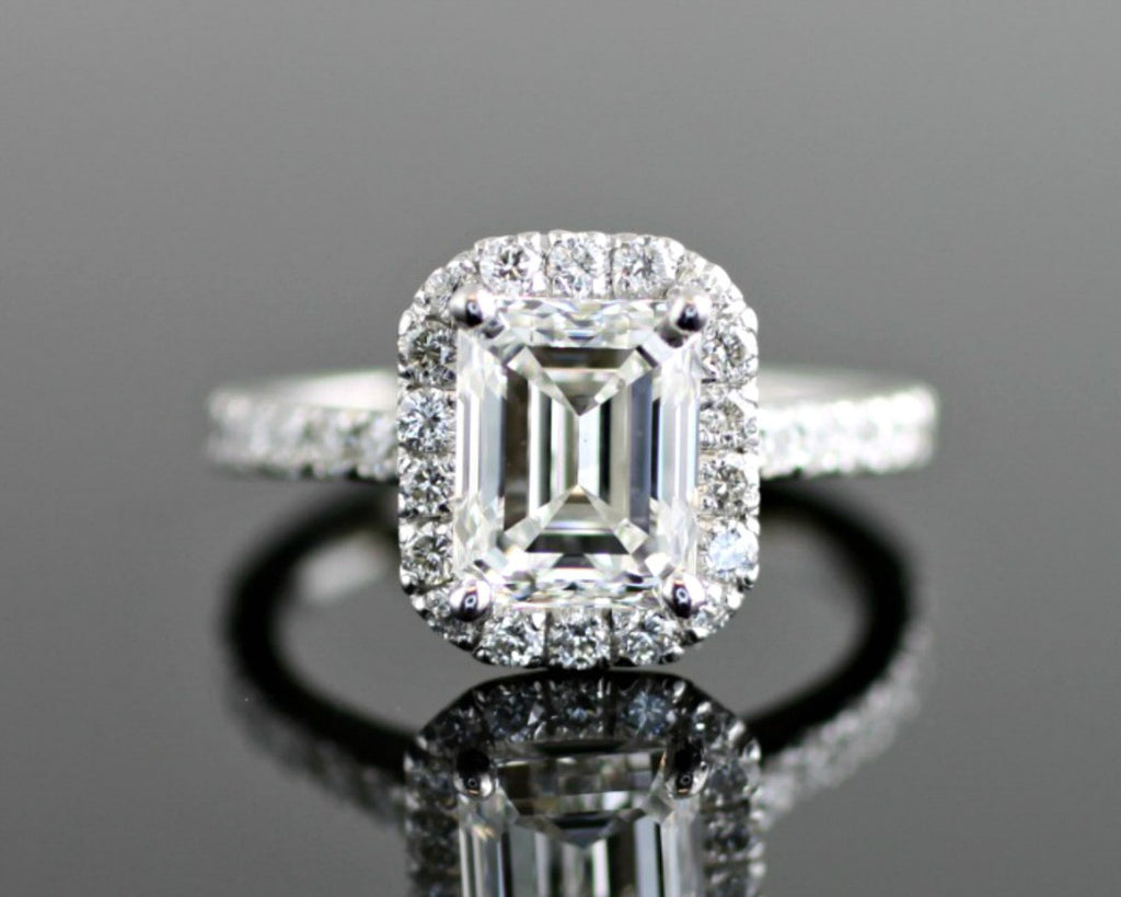 product diamond emerald platinum zaltas cut ring engagement