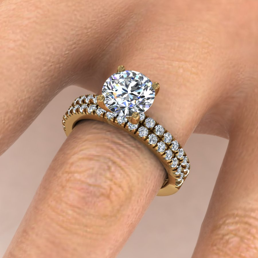 Dainty Classic Pave Bridal Set Featuring a Round Brilliant Center Diamond. This design features a Round Brilliant Center stone with a micro-prong set pave thin shank (approximately 1.6mm total width) and a matching wedding band.