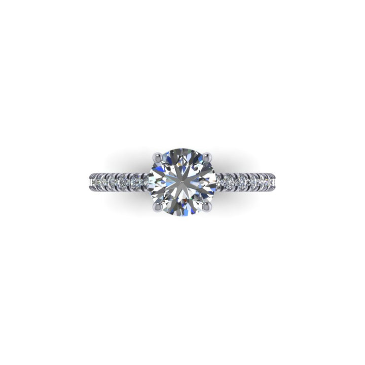 Camille Solitaire w/ French Pave set Diamonds