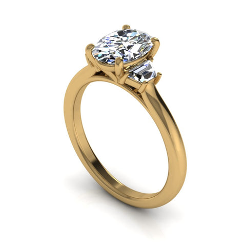 """Elizabeth"" Three Stone Oval Engagement Ring"
