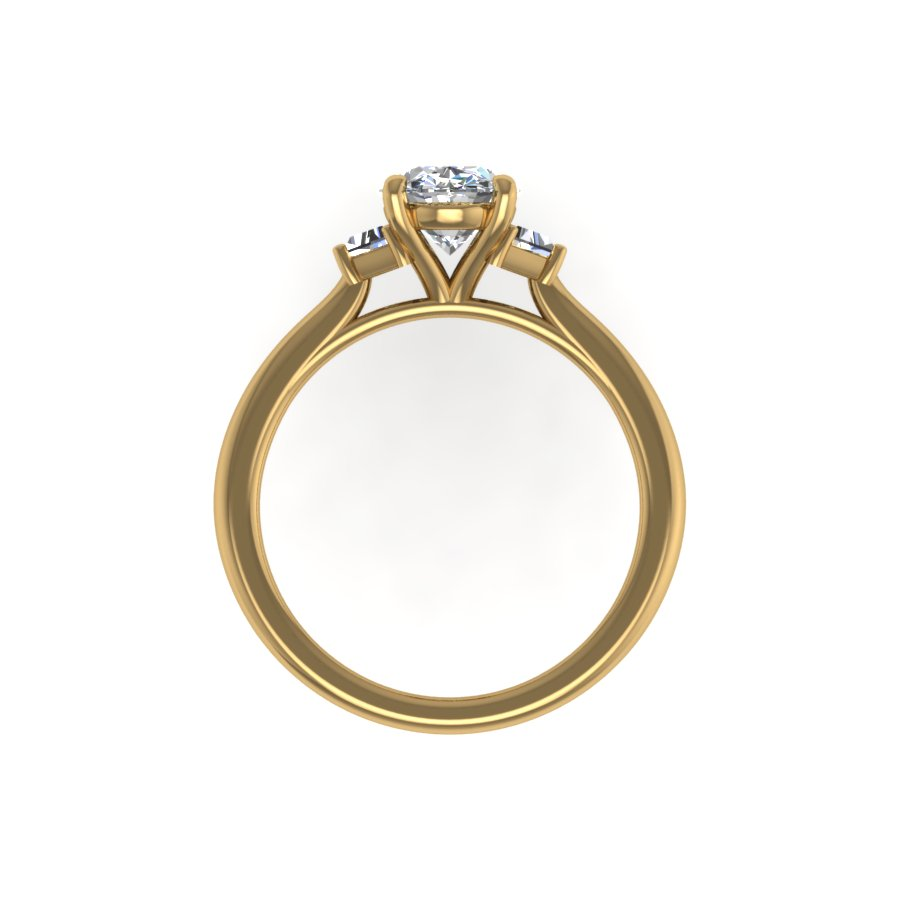 Elizabeth Three Stone Oval with Trapeze Accent Stones