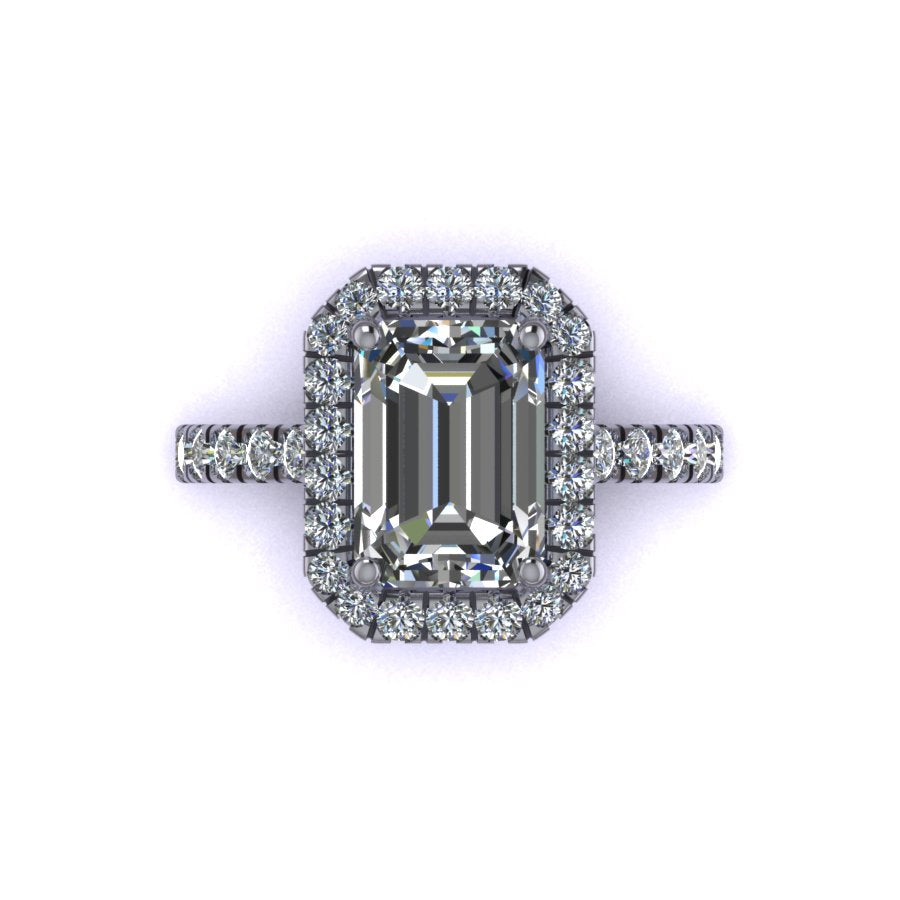 Classic Emerald Cut Halo Setting with Tulip Cathedral Profile Elegant Emerald Cut halo with a clean and modern look Cathedral profile made to sit a wedding band flush Designed with perfect proportions of from shank to halo creating a beautiful design aesthetic Designed with tensile strength in mind while maintaining delicate and seamless look. Made with about 20-25% more metal to ensure structural integrity