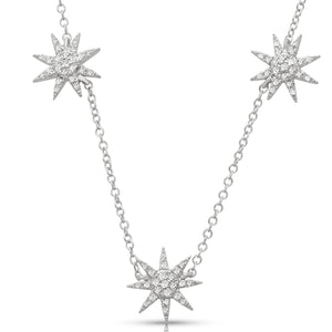 Three Star Pave Necklace