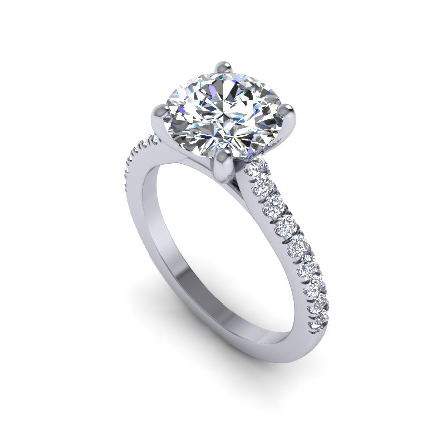 Modern Cathedral Style Engagement Setting with Pave Set Diamonds. This ring features a diamond pave micro prong style featuring an elegant cathedral allowing any band style perfectly flush.