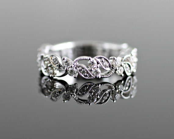 Floral Diamond Band with Milgrain Beading and Filigree