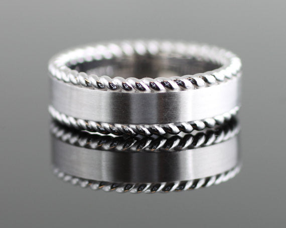 Men's Matte Center Rope Edge Wedding Band