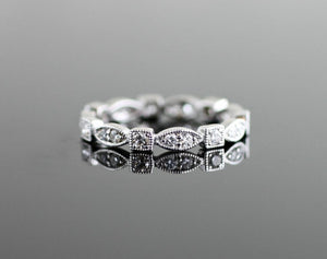 Stackable Vintage Scalloped and Square Diamond Eternity Band