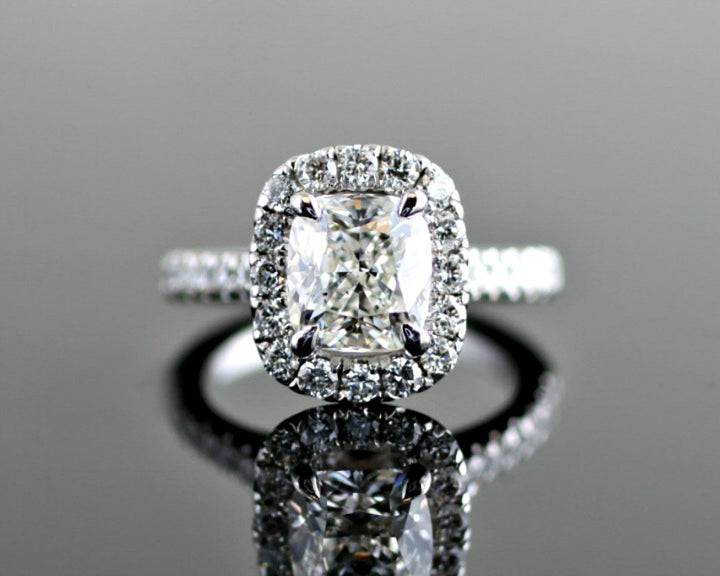 Diamond Cushion Halo with Diamond Basket