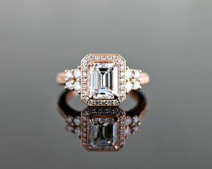 Rose Gold Emerald Diamond Halo