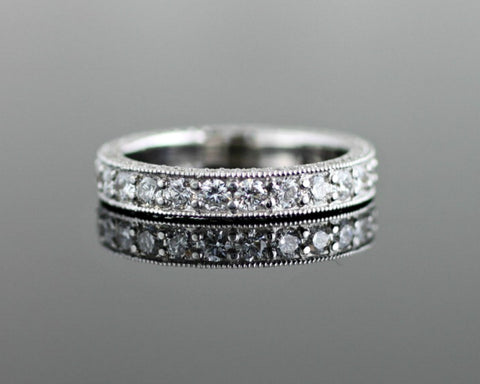 Diamond Eternity Band - Vintage Channel Set with 3 Sides of Diamonds and Delicate Milgrain Beading