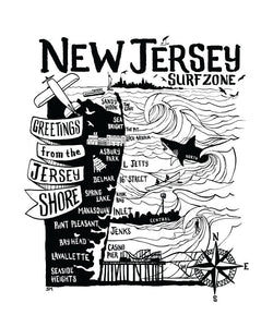 "The ""Inlet Outlet Surf Shop"" North Jersey Tee"