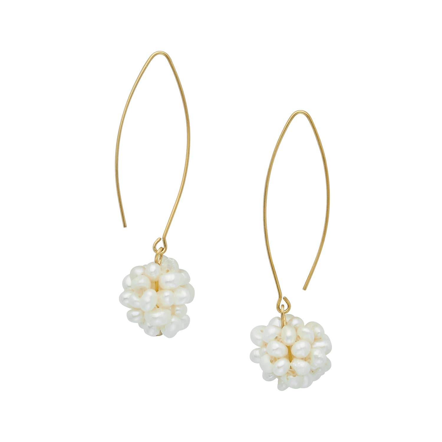 Susan Shaw - Pearl Cluster Threader Earrings