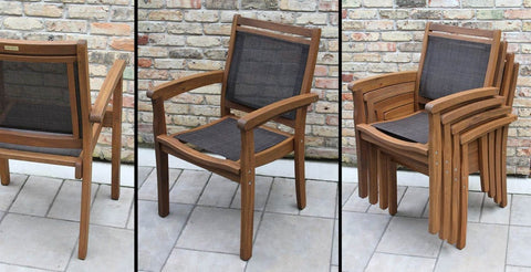 Eucalyptus & Brown Sling Stacking Arm Chair