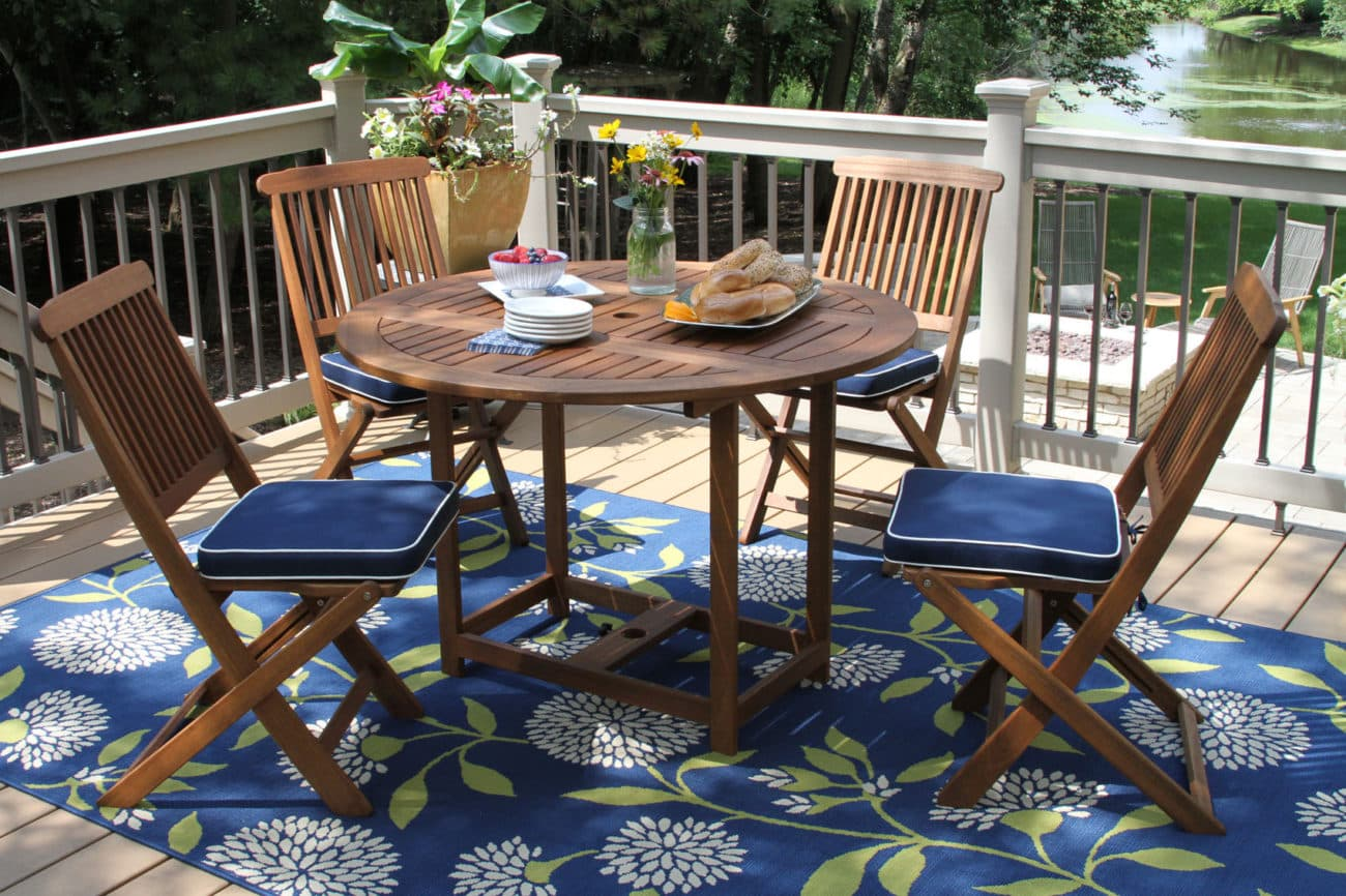 5PC. Round Eucalyptus Dining Set