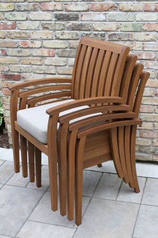 Eucalyptus Deluxe Stacking Arm Chair with Olefin Cushion