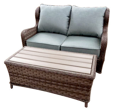 Love Seat & Coffee Table, All Weather Resin Wicker