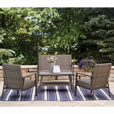 Nantucket 4 Piece Padded Woven Seating Set