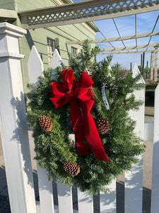"Balsam Wreath with Bow & Pine Cones, 12"" size"