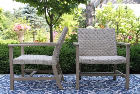 Eucalyptus and Latte Wicker Lounge Chair, 2 Pieces