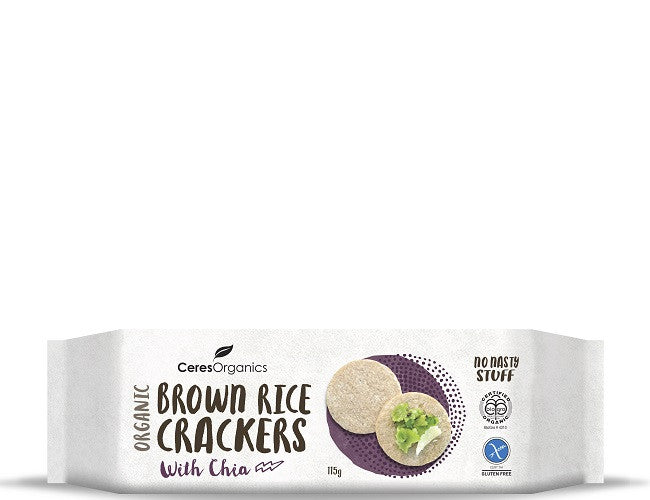 Ceres Organics Brown Rice Crackers with Chia - Green Mumma