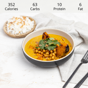 Vegan Coconut Korma Curry with Steamed Rice (DF) (GF)