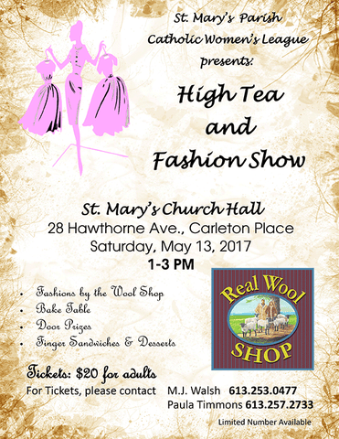 St. Mary's Fashion Show in Carleton Place May 3rd