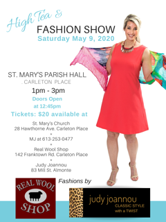 High Tea & Fashion show May 9th, 2020 presented by The Real Wool Shop & Judy Joannou