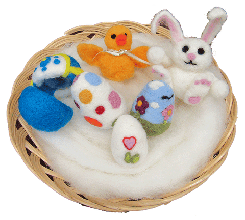 easter felted bunny, eggs and chick