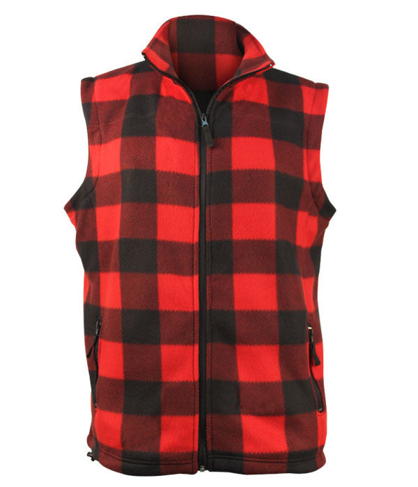 Fleece Plaid Red Black Vest- Men's 5021