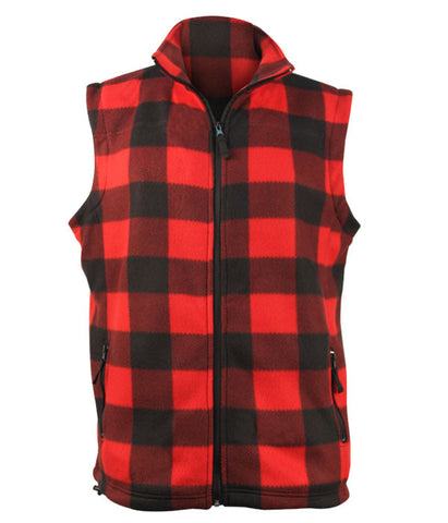 Fleece Plaid Red Black Vest- Men's 5021 DIS