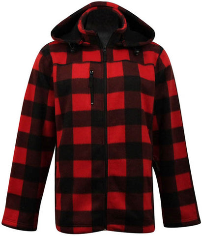 Fleece- Red Black Check Jackets- Men's 5018