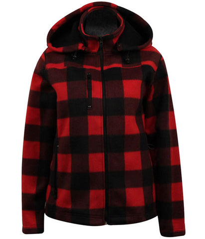 Fleece- Red Black Check Jackets- Ladies 5019