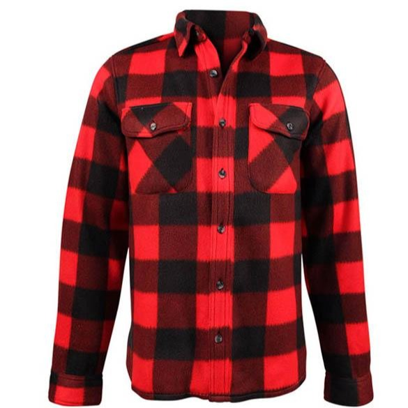 Fleece Plaid Red Black Shirt- Men's