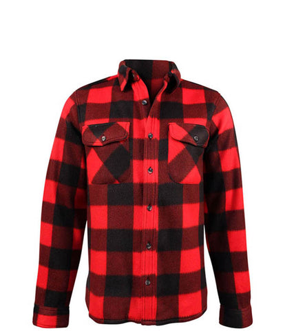 Fleece Plaid Red Black Shirt- Ladies 5022