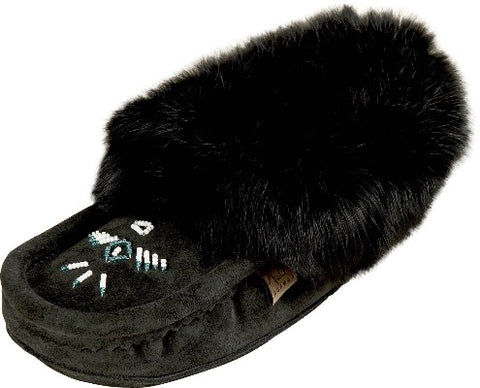 Moccasin-Wool lined, suede and rabbit fur-Ladies-613